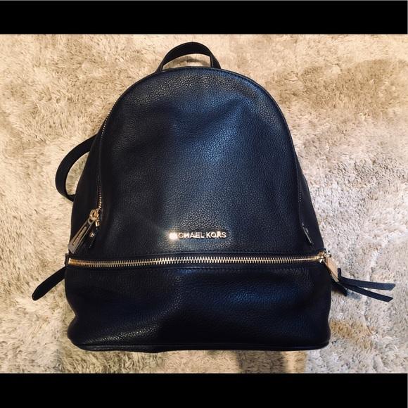 Michael Kors classic black leather backpack